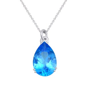 Beverly Hills Charm 10K White Gold Pear Shape Swiss Blue Topaz Necklace