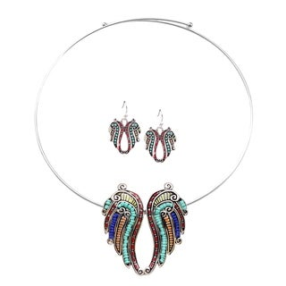 Bleek2Sheek Rainbow Mosaic Angel Wings Choker Necklace and Earring Jewelry Set