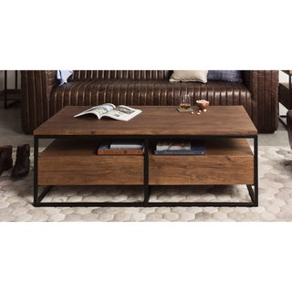 Aurelle Home Rustic Distressed Farmhouse Coffee Table