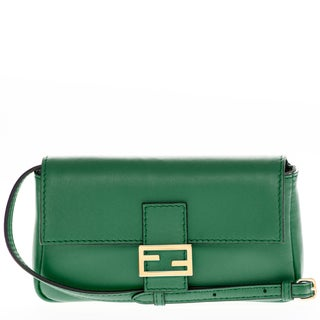 Fendi Green Leather Micro Baguette