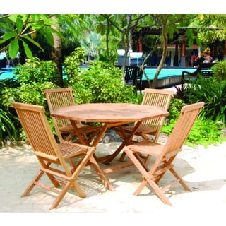 Vineyard Teak Folding Octagon Table and Chairs Set