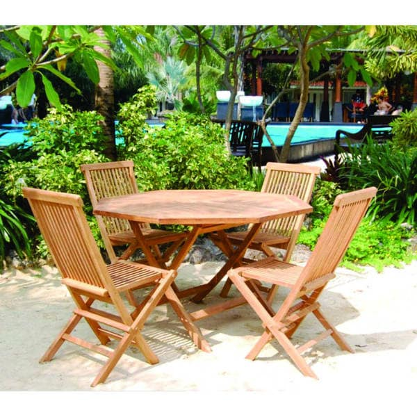 Handmade Vineyard Teak Folding Octagon Table And Chairs Set Indonesia
