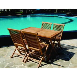 Handmade Vineyard Teak Folding Rectangle Table and Chairs Set (Indonesia)