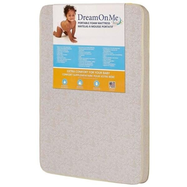 Dream On Me 3-inch Square Corner Playard Mattress - White