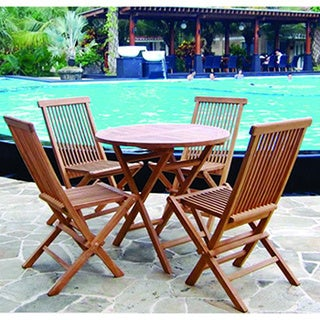 Handmade Vineyard Teak Folding Round Table and Chairs Set (Indonesia)