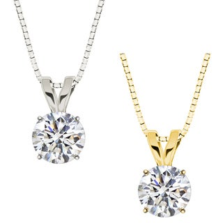 10k Gold Round White Topaz Solitaire Pendant Necklace
