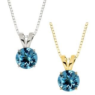10k Gold Round Swiss Blue Topaz Solitaire Pendant Necklace