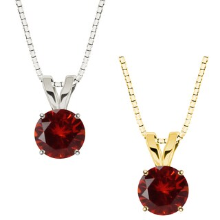 10k Gold Round Garnet Solitaire Pendant Necklace