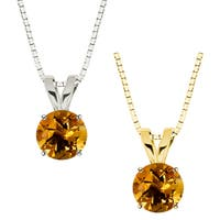 10k Gold Round Citrine Solitaire Pendant Necklace