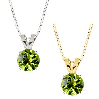 10k Gold Round Peridot Solitaire Pendant Necklace