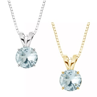10k Gold Round Genuine Aquamarine Solitaire Pendant Necklace