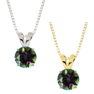 10k Gold Round Mystic Topaz Solitaire Pendant Necklace
