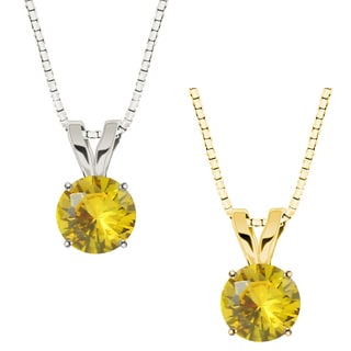 10k Gold Round Yellow Sapphire Solitaire Pendant Necklace