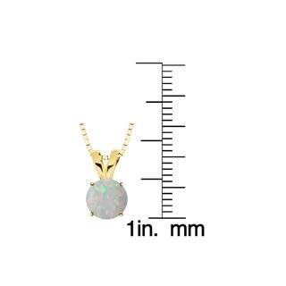 10k Gold Round Opal Solitaire Pendant Necklace