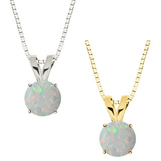 10k Gold Round Opal Solitaire Pendant Necklace