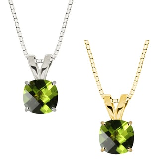 10k Gold Checkerboard Cushion Peridot Solitaire Pendant Necklace