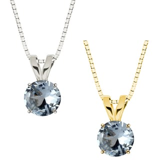 10k Gold Round Aqua Solitaire Pendant Necklace