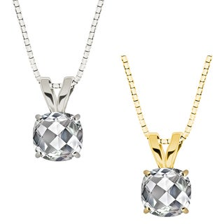 10k Gold Checkerboard Cushion White Topaz Solitaire Pendant Necklace