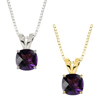 10k Gold Checkerboard Cushion Amethyst Solitaire Pendant Necklace