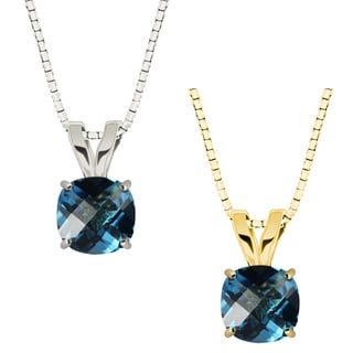 10k Gold Checkerboard Cushion Swiss Blue Topaz Solitaire Pendant Necklace