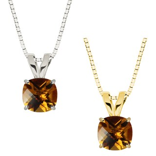 10k Gold Checkerboard Cushion Citrine Solitaire Pendant Necklace