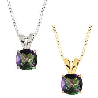 10k Gold Checkerboard Cushion Mystic Topaz Solitaire Pendant Necklace