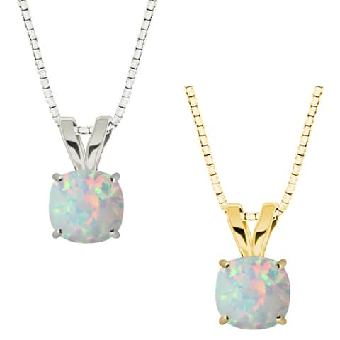 10k Gold Checkerboard Cushion Opal Solitaire Pendant Necklace