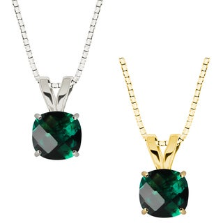 10k Gold Checkerboard Cushion Emerald Solitaire Pendant Necklace