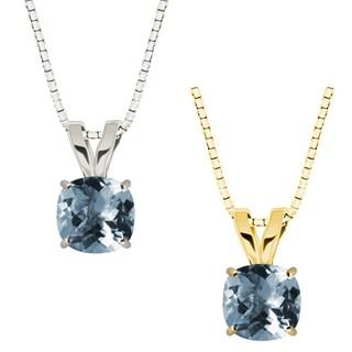 10k Gold Checkerboard Cushion Aqua Solitaire Pendant Necklace