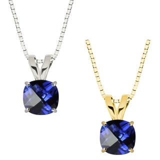 10k Gold Checkerboard Cushion Blue Sapphire Solitaire Pendant Necklace