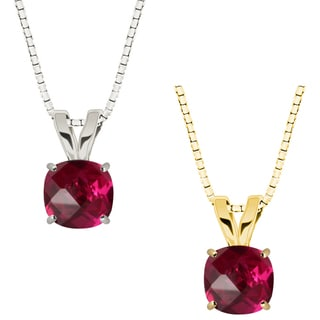 10k Gold Checkerboard Cushion Ruby Solitaire Pendant Necklace