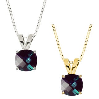 10k Gold Checkerboard Cushion Lab-Created Alexandrite Solitaire Pendant Necklace