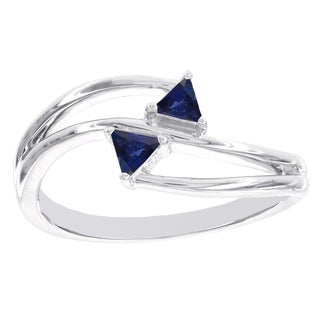 H Star Sterling Silver Trillion Sapphire Ring