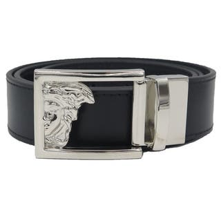 Versace Collection Black Leather Reversible Adjustable Cutout Medusa Belt|https://ak1.ostkcdn.com/images/products/11404567/P18369906.jpg?impolicy=medium