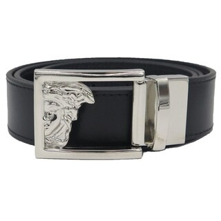 Versace Collection Black Leather Reversible Adjustable Cutout Medusa Belt (2 options available)