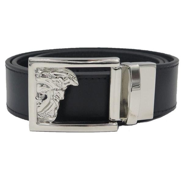 9d68b6fdf1c Versace Collection Black Leather Reversible Adjustable Cutout Medusa Belt