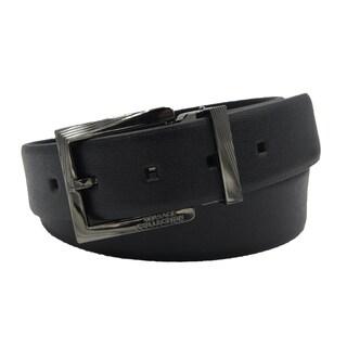 Versace Collection Black Saffiano Leather Adjustable Black Buckle Belt