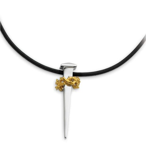 Sterling Silver and Gold Plated 'No Greater Love' Nail Necklace by Versil
