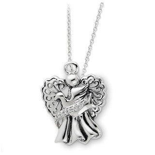 Versil Sterling Silver Antiqued Angel of Faith Necklace