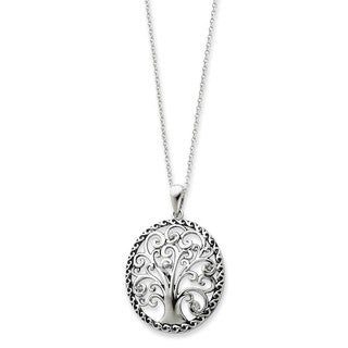 Versil Sterling Silver Cubic Zirconia Antiqued Tree of Life Necklace