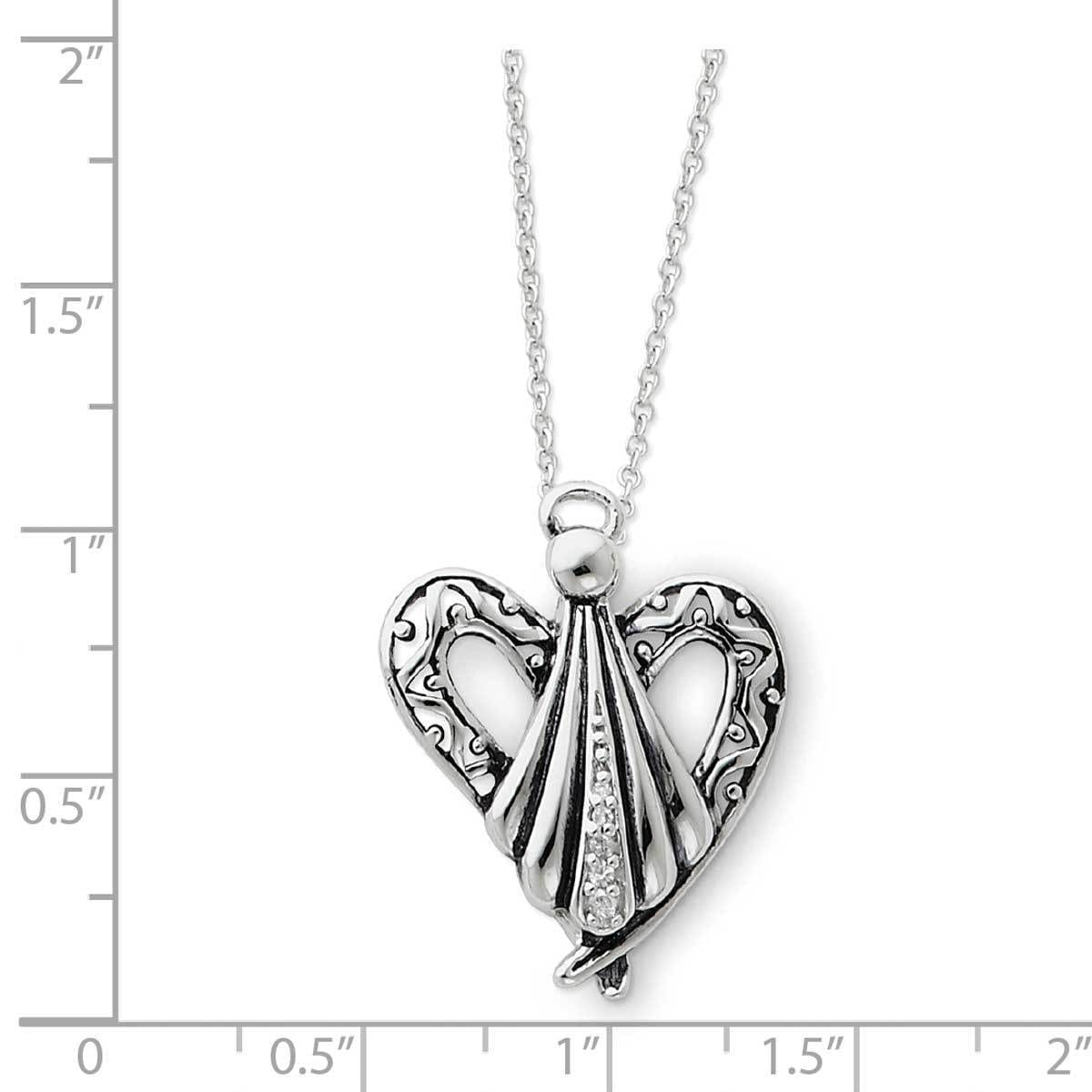 Sterling Silver Antiqued Gold-Plated You are The Angel 18in Necklace and Pendant