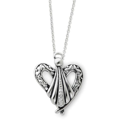 Sterling Silver Cubic Zirconia Antiqued Angel of Friendship 18-inch Necklace by Versil