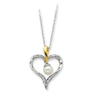 Versil Sterling Silver And Yellow Goldplated Freshwater Cultured Pearl Heart And Soul Necklace (|https://ak1.ostkcdn.com/images/products/11404581/P18369920.jpg?impolicy=medium