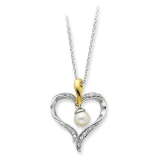Versil Sterling Silver and 14k Yellow Goldplated Freshwater Cultured Pearl Heart and Soul Necklace (5-6 MM)