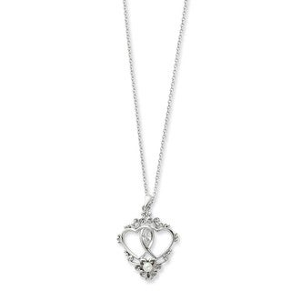 Versil Sterling Silver Freshwater Pearl and Cubic Zirconia Two Hearts, One Love Heart Necklace (2-3 MM)