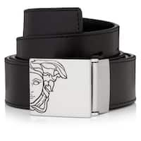 Versace Collection Men's Black Leather Medusa Adjustable Belt
