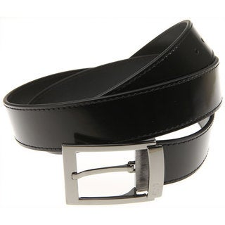 Versace Collection Black Leather Adjustable Gunmetal Belt