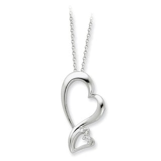 Versil Sterling Silver Cubic Zirconia Protected Heart Necklace