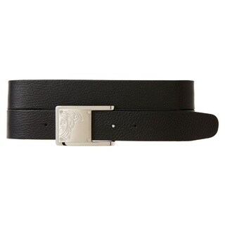 Versace Collection Black Pebbled Leather Medusa Head Reversible Belt (3 options available)