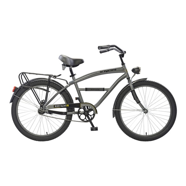 Body Glove Greystone Cruiser Bike, 24 inch wheels, oversized frame, Boy's Bike, Gunmetal Gray